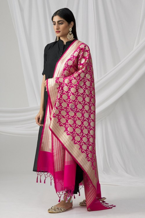 Woven Banarasi Art Silk Dupatta in Fuchsia 5