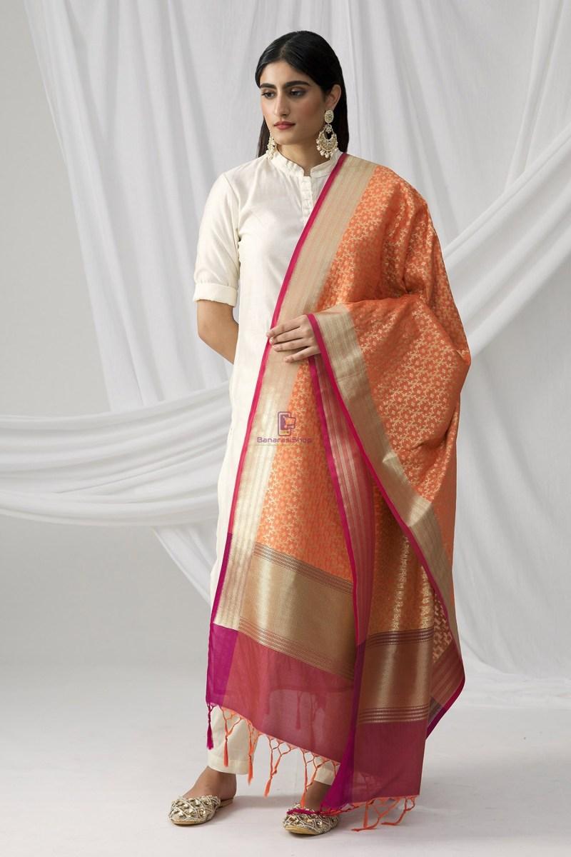 Woven Banarasi Art Silk Dupatta in Peach 2