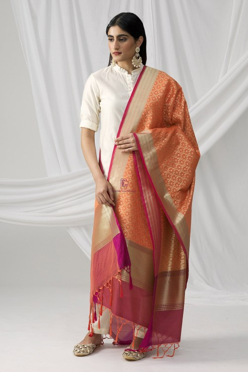 Woven Banarasi Art Silk Dupatta in Peach 8