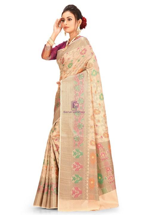 Woven Cotton Silk Saree in Beige 5