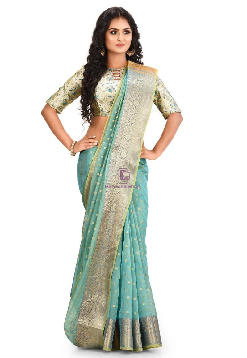 Woven Cotton Silk Saree in Blue and Mustard Dual Tone 1