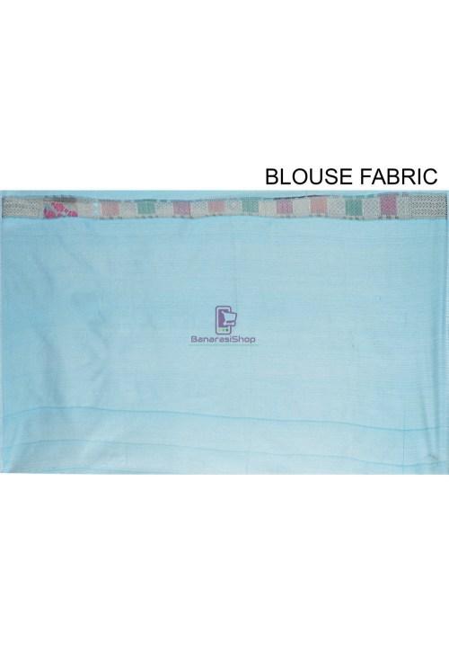 Woven Cotton Silk Saree in Blue 7