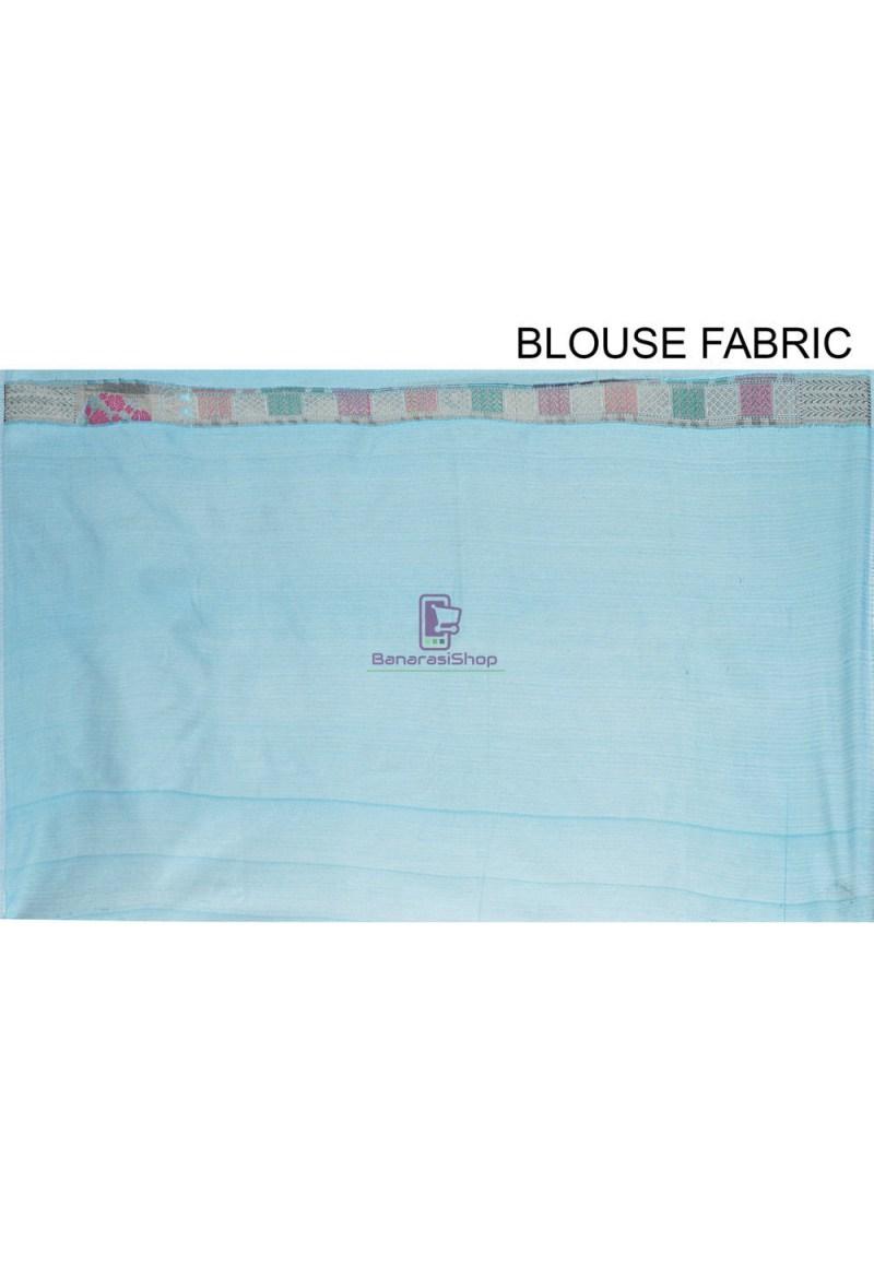 Woven Cotton Silk Saree in Blue 4