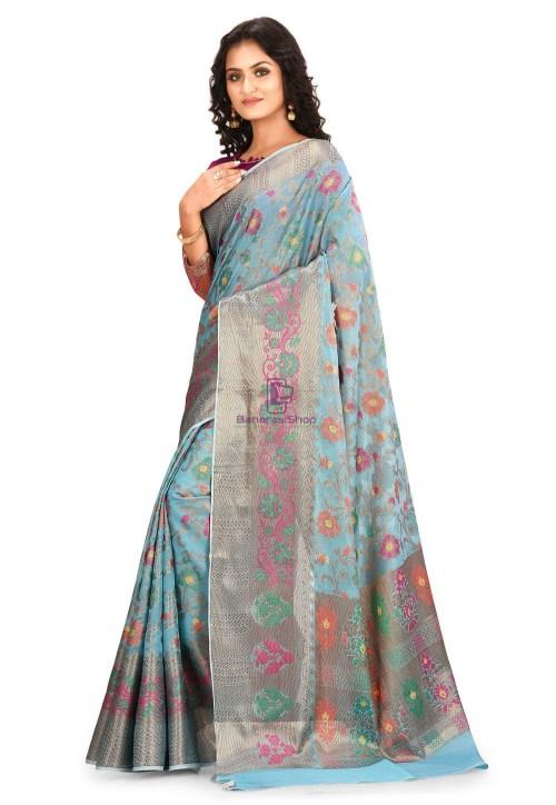 Woven Cotton Silk Saree in Blue 5