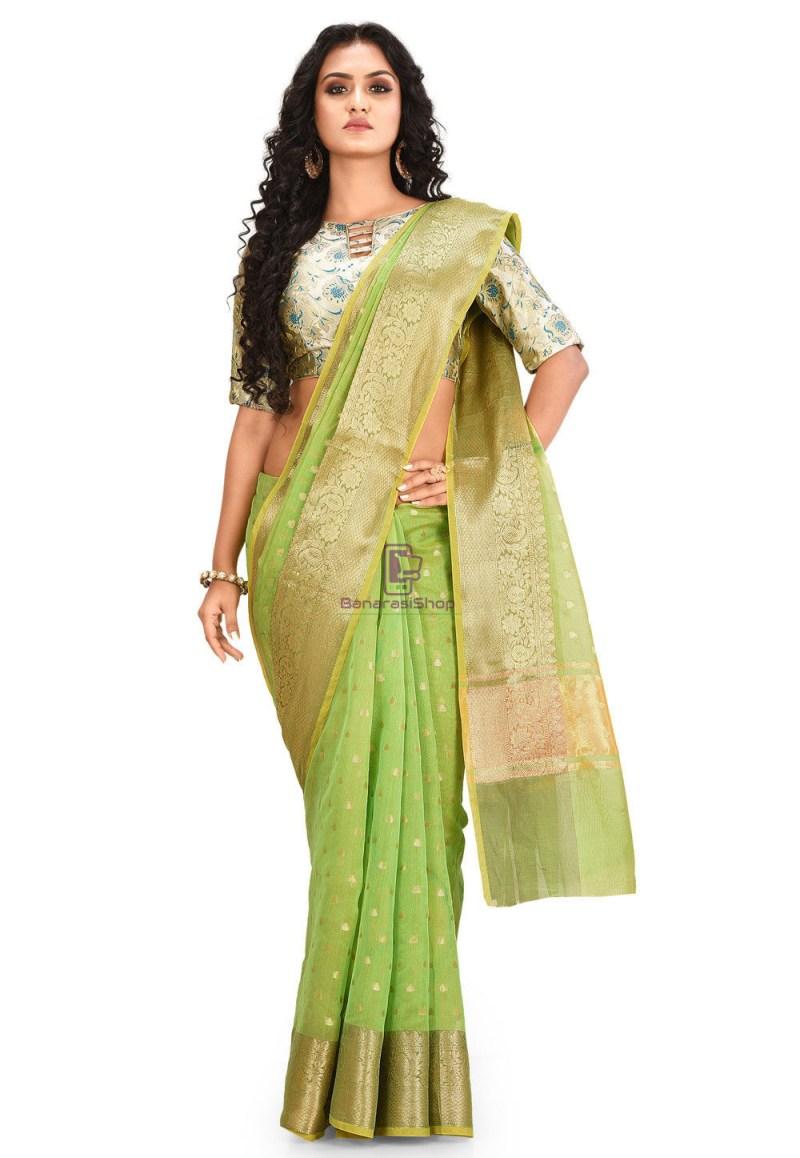 Woven Cotton Silk Saree in Light Green 1