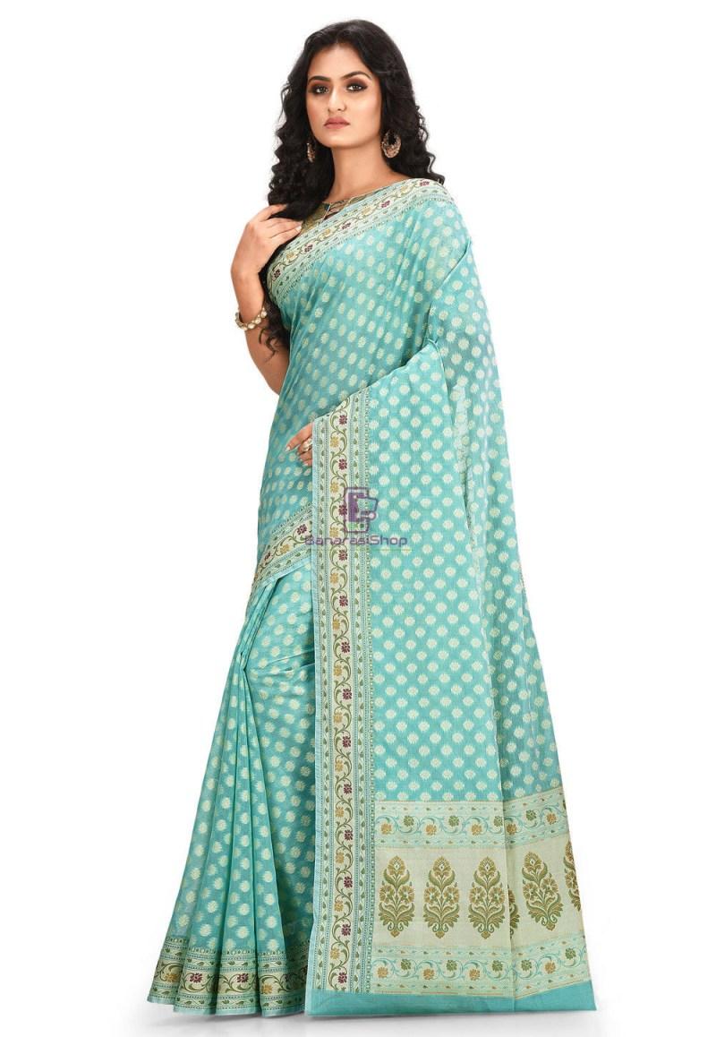 Woven Cotton Silk Saree in Light Teal Blue 2
