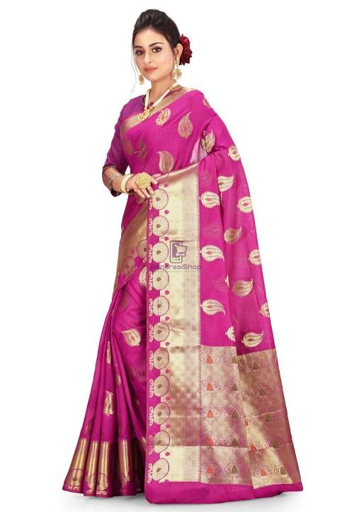Woven Cotton Silk Saree in Magenta 5