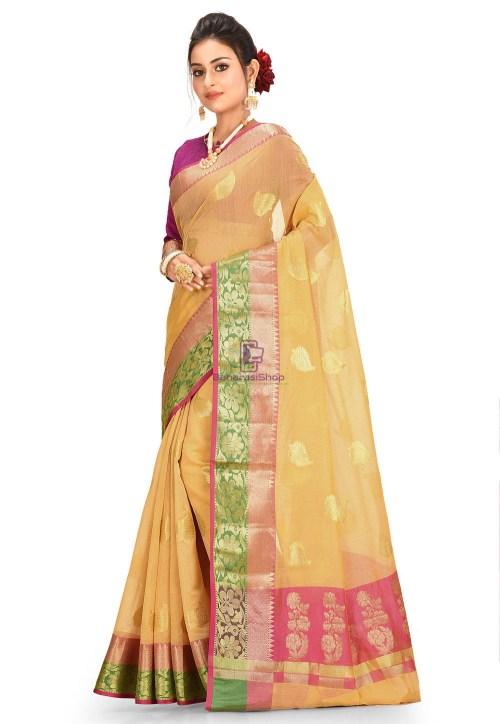 Woven Cotton Silk Saree in Mustard 5