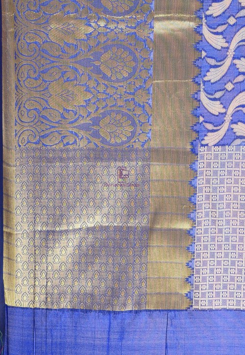 Woven Cotton Silk Saree in Navy Blue 6