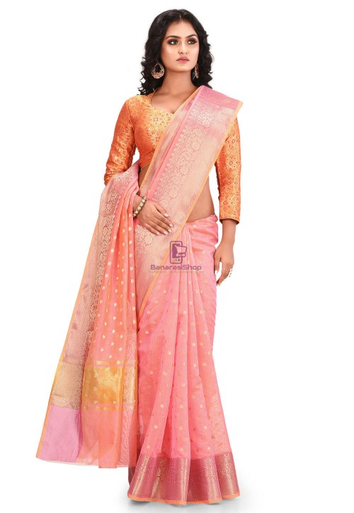 Woven Cotton Silk Saree in Peach 5