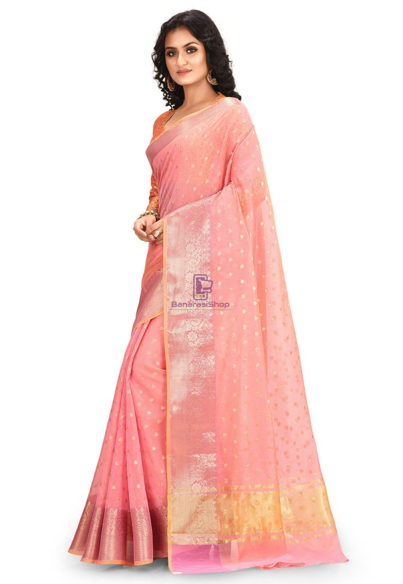 Woven Cotton Silk Saree in Peach 1