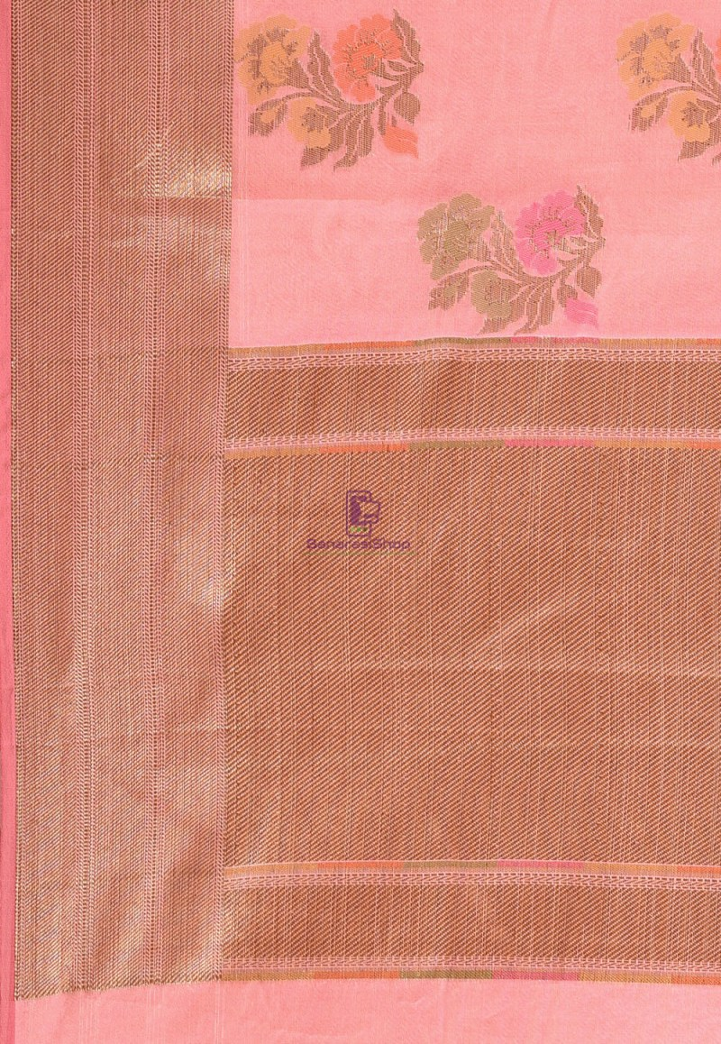 Woven Cotton Silk Saree in Pink 3