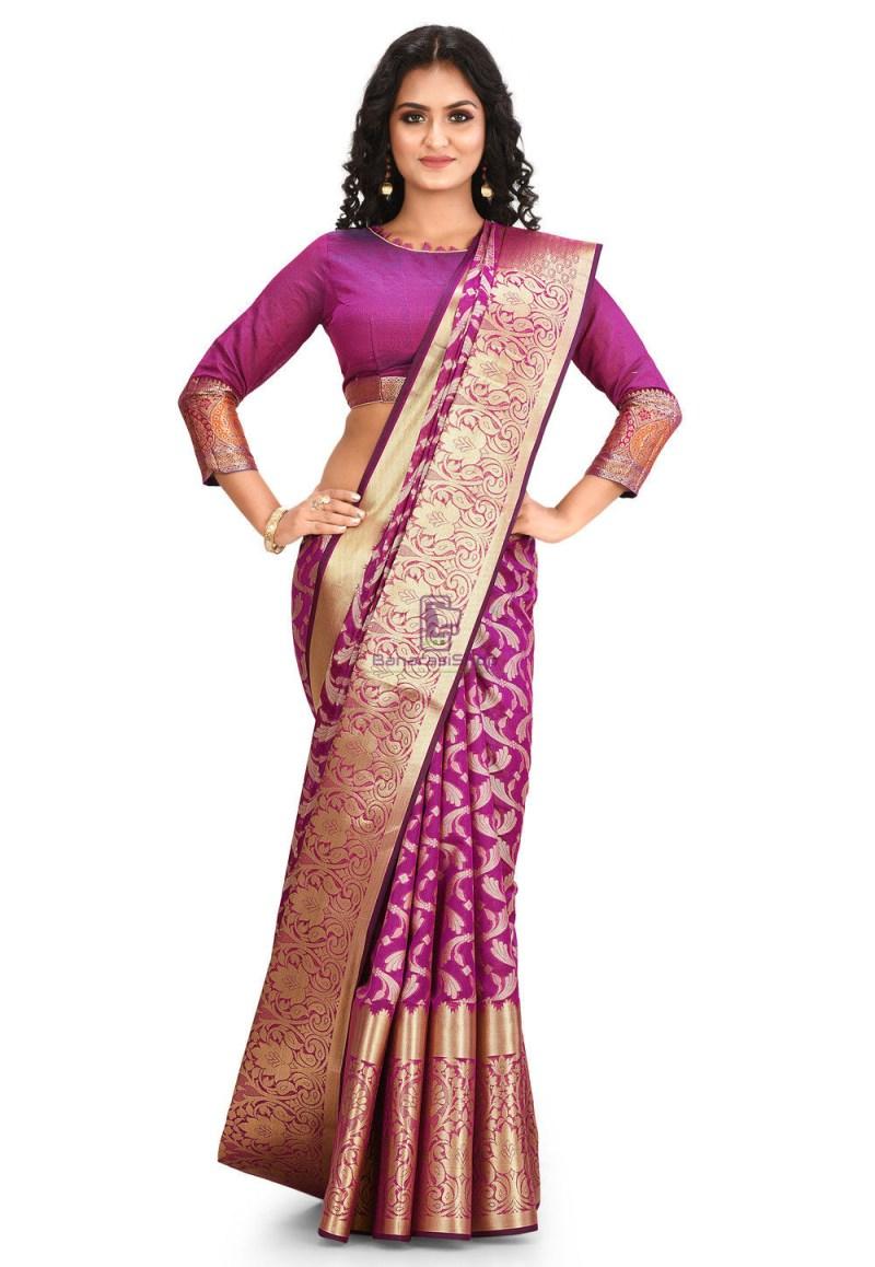 Woven Cotton Silk Saree in Purple 1