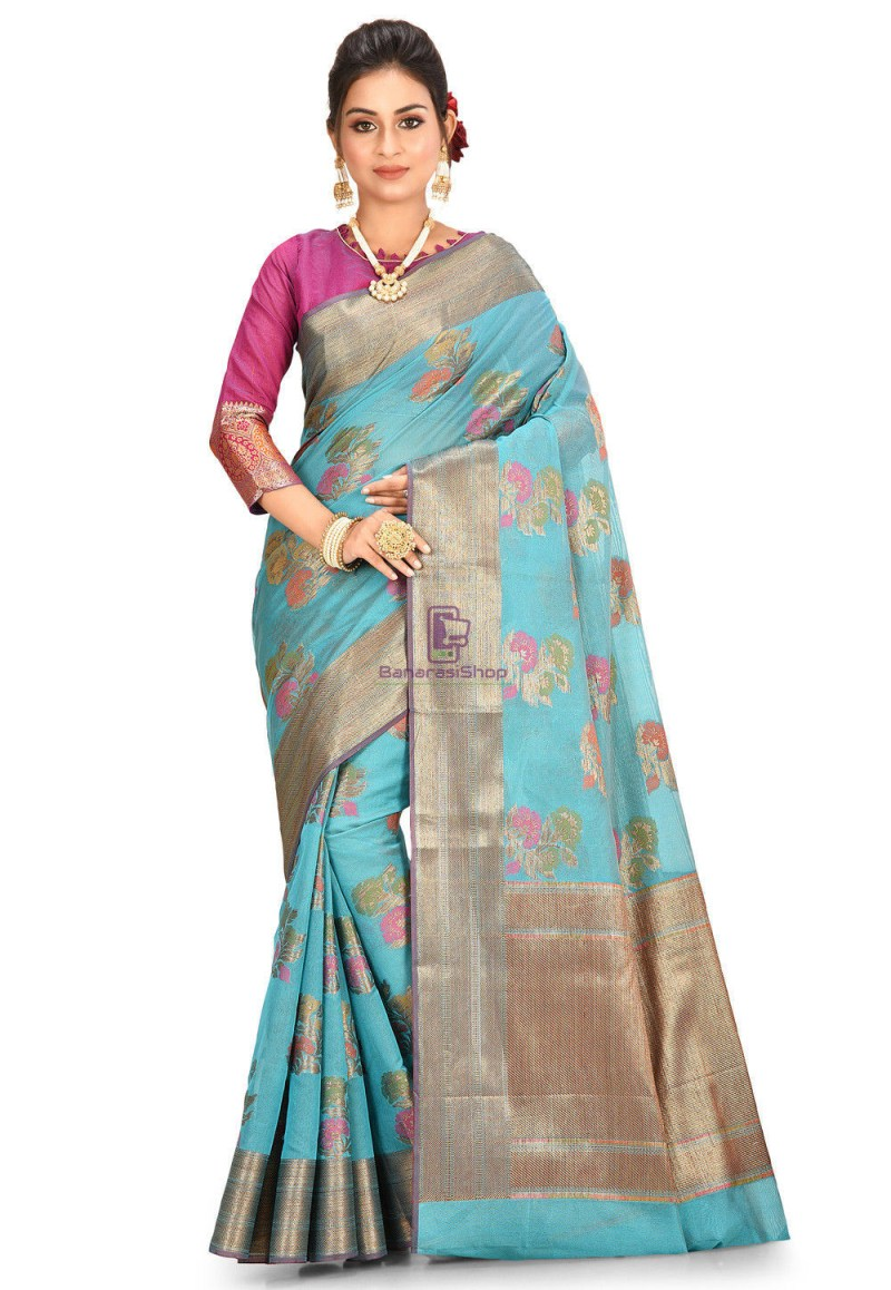 Woven Cotton Silk Saree in Teal Blue 1