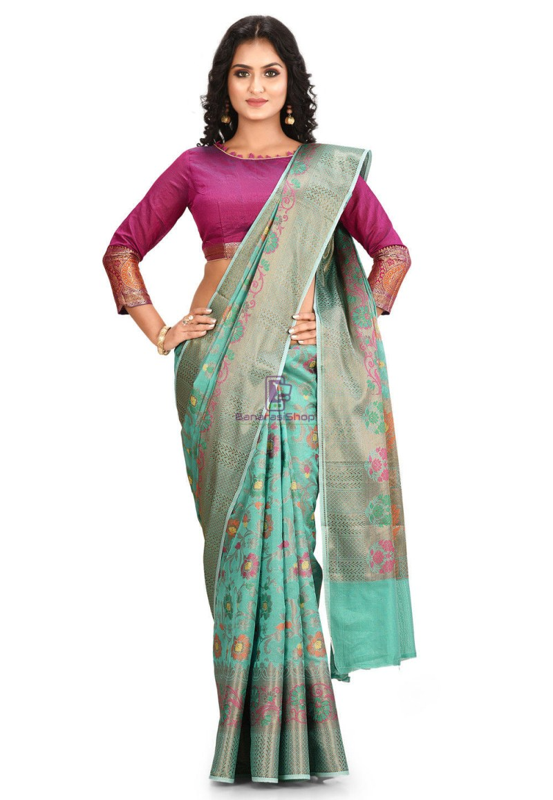 Woven Cotton Silk Saree in Teal Green 1