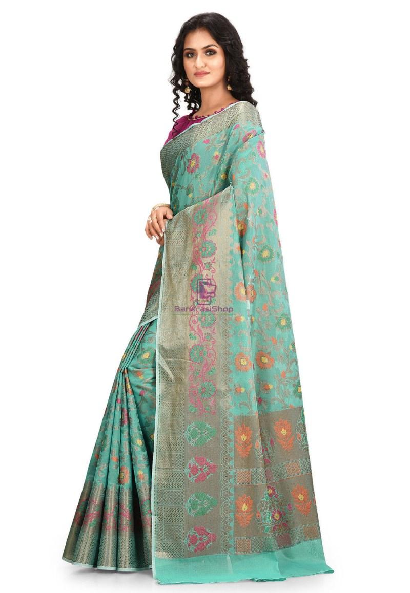 Woven Cotton Silk Saree in Teal Green 2