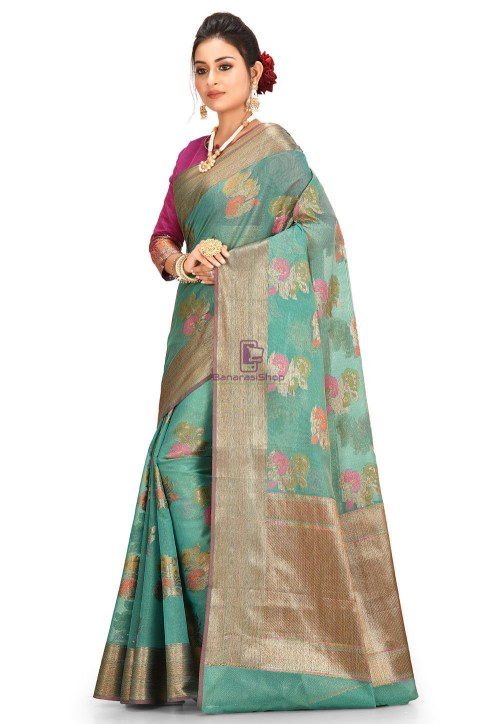 Woven Cotton Silk Saree in Teal Green 5