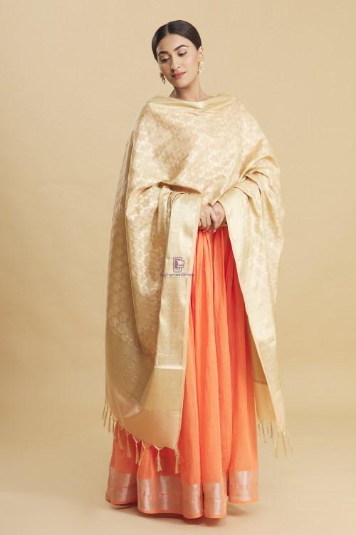 Woven Banarasi Art Silk Floral Tassel Dupatta 8