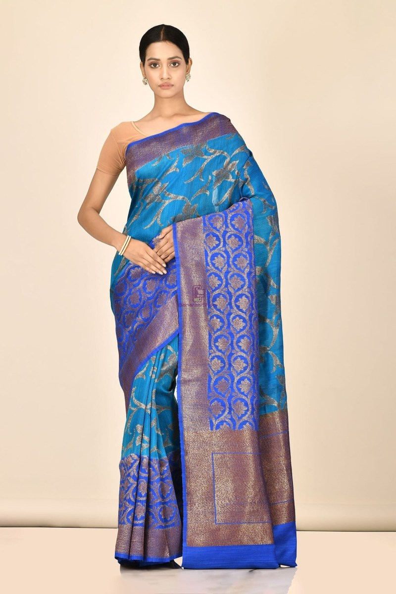 Handloom Dupion Silk Saree with Running Blouse Fabric 1