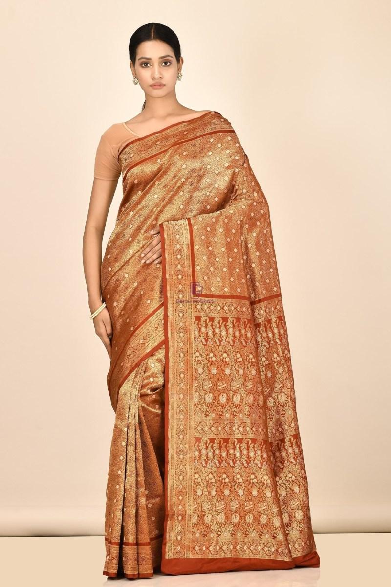 Tanchoi Handloom Banarasi Katan Silk Saree with Running Blouse Fabric 1