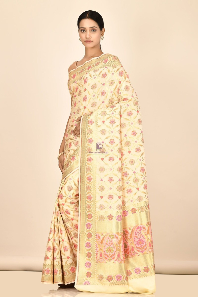 Banarasi Silk Minedar Saree with Running Blouse Fabric 2