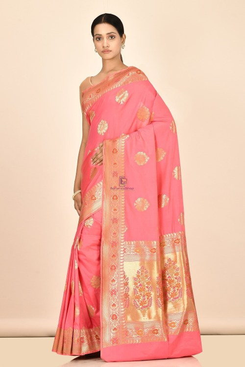 Banarasi Silk Minedar Saree with Running Blouse Fabric 5