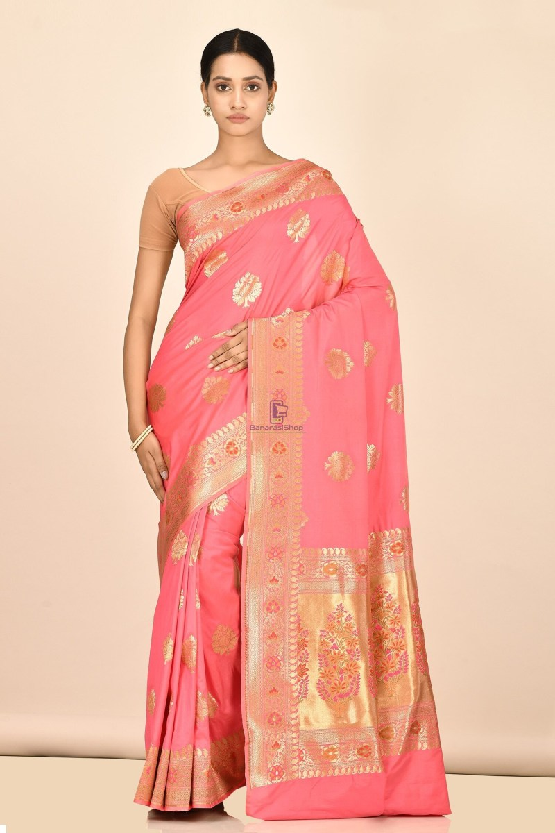 Banarasi Silk Minedar Saree with Running Blouse Fabric 1