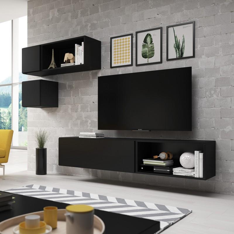Bmf Roco 5 Black Matt Floating Cabinets Shelves Modern Living Room