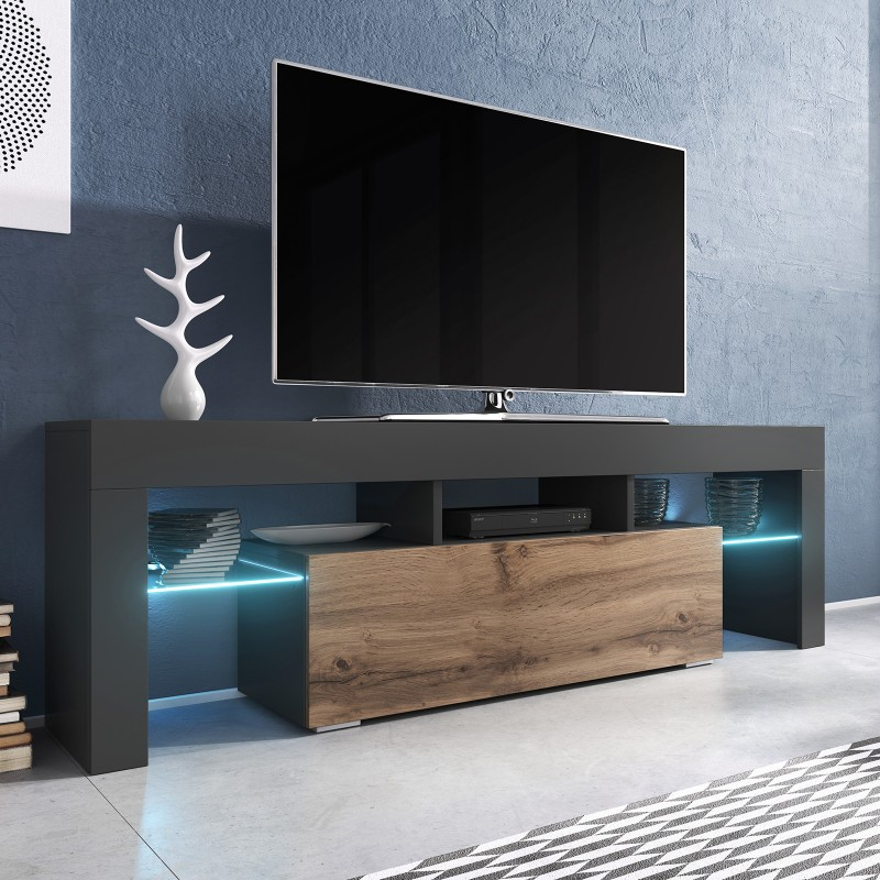 bmf toro tv stand 138cm wide anthracite wotan wood effect led lights modern living room