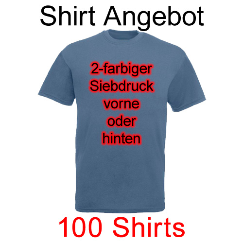 100 Shirts mit 2-farbigem Siebdruck