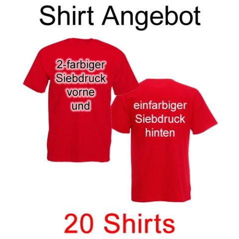 20 T-Shirts vorne zweifarbig und hinten einfarbig bedruckt