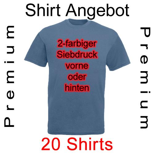20 premium Shirts mit 2-farbigem Siebdruck