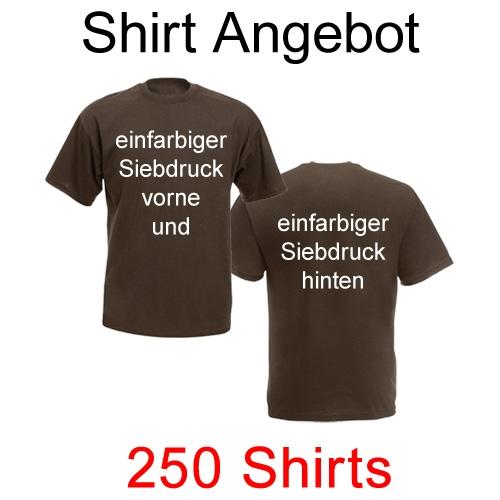 250 T-Shirts vorne und hinten einfarbig bedruckt mit deinem Motiv