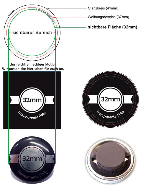 32mm SilberButtons mit Magnet
