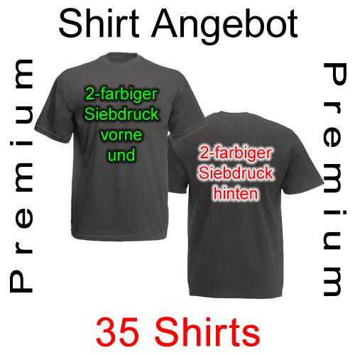 35 Premium T-Shirts vorne und hinten zweifarbig bedruckt