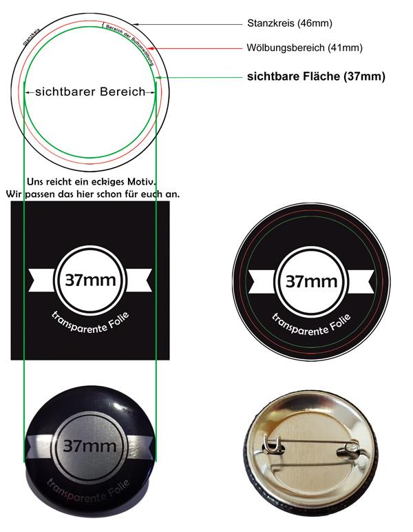 37mm Silber-Buttons Vorlage