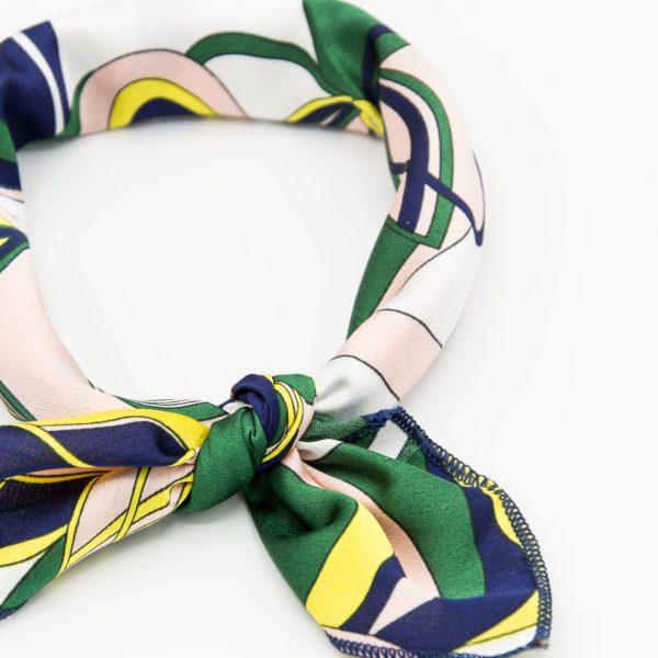 bandana à imprimé vert et jaune