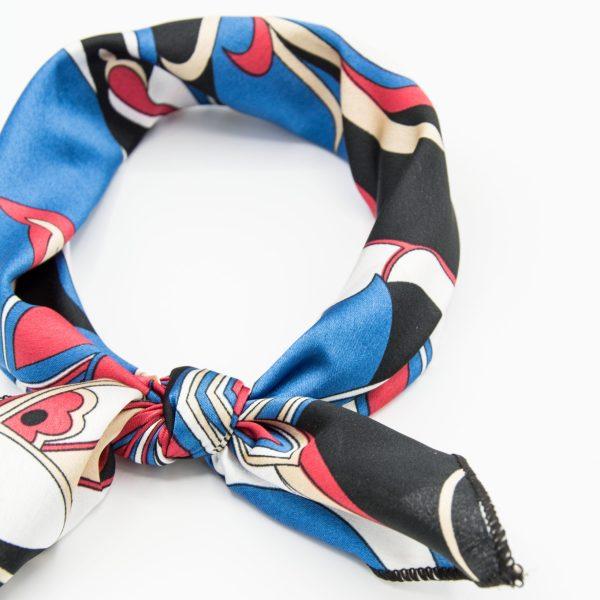 bandana géométrique bleu et rouge pour femme