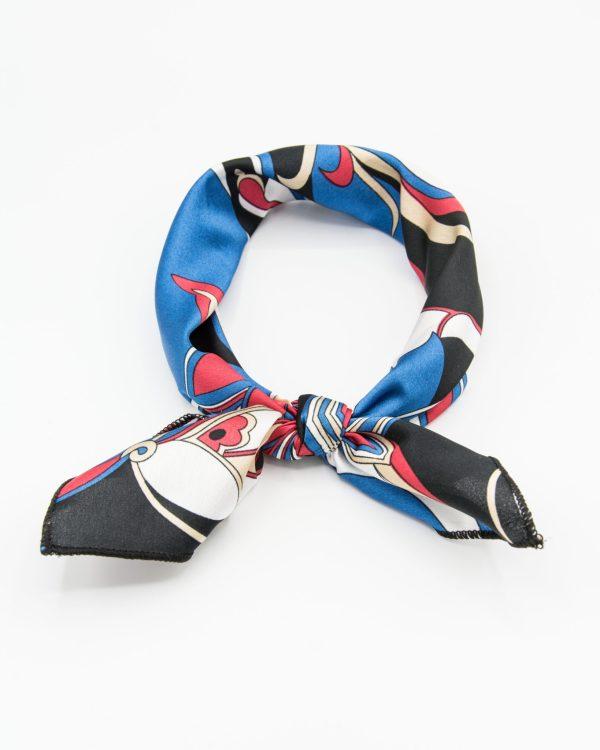 bandana géométrique bleu et rouge
