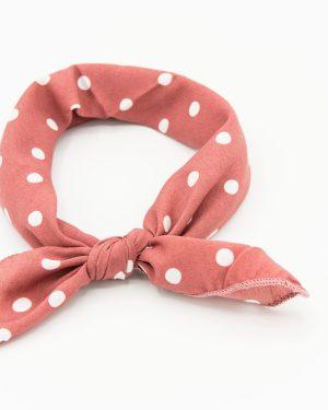 bandana rose à pois blancs