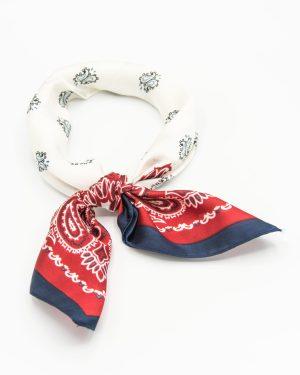 bandana soie rouge et blanc