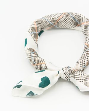 bandana vintage blanc à taches vertes pour femme
