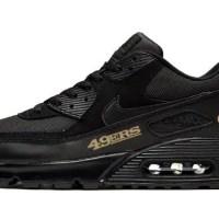 SF 49ers Gold Custom Nike Air Max Shoes Black
