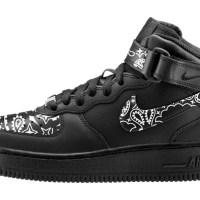 Black Bandana Custom Nike Air Force 1 Shoes Black Mid