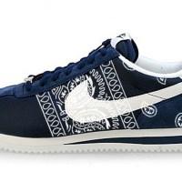 Navy Blue Bandana Teardrops Custom Nike Cortez Shoes NNW Sides