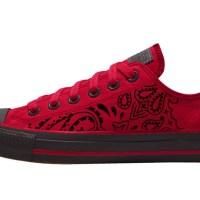 Black Bandana Custom Converse Shoes Red/Black Low
