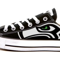 Seattle Seahawks Custom Converse Shoes Black Low