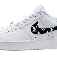 Black Supreme LV Custom Nike Air Force 1 Shoes White Low Swoosh