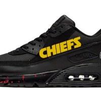 KC Chiefs Red Splat Custom Nike Air Max Shoes Black