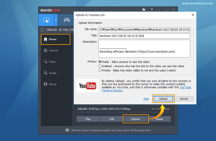 Bandicam Video uploader